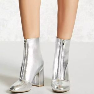 Metallic Faux Leather Booties - Silver
